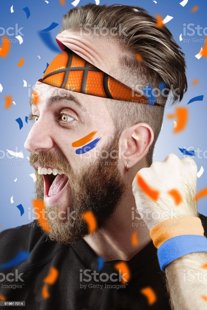 Basketball fan with basketball inside the head New York Color stock photo