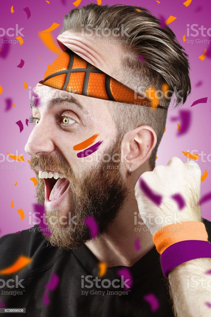 Basketball fan with basketball inside the head Phoenix Color stock photo