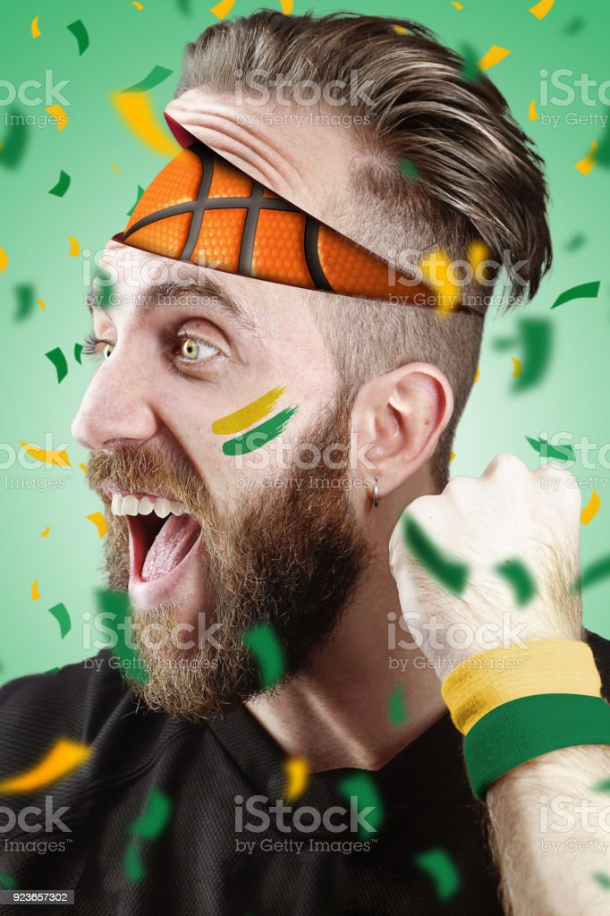 Basketball fan with basketball inside the head Seattle Color stock photo