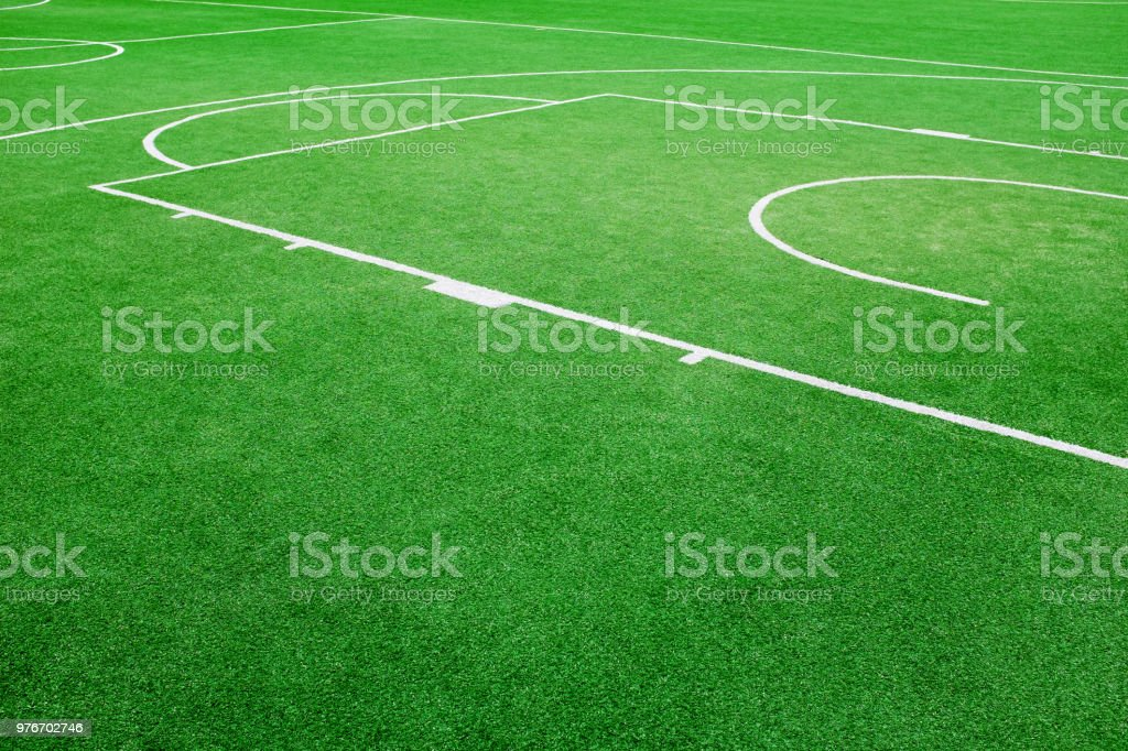 Basketball field with turfed area background