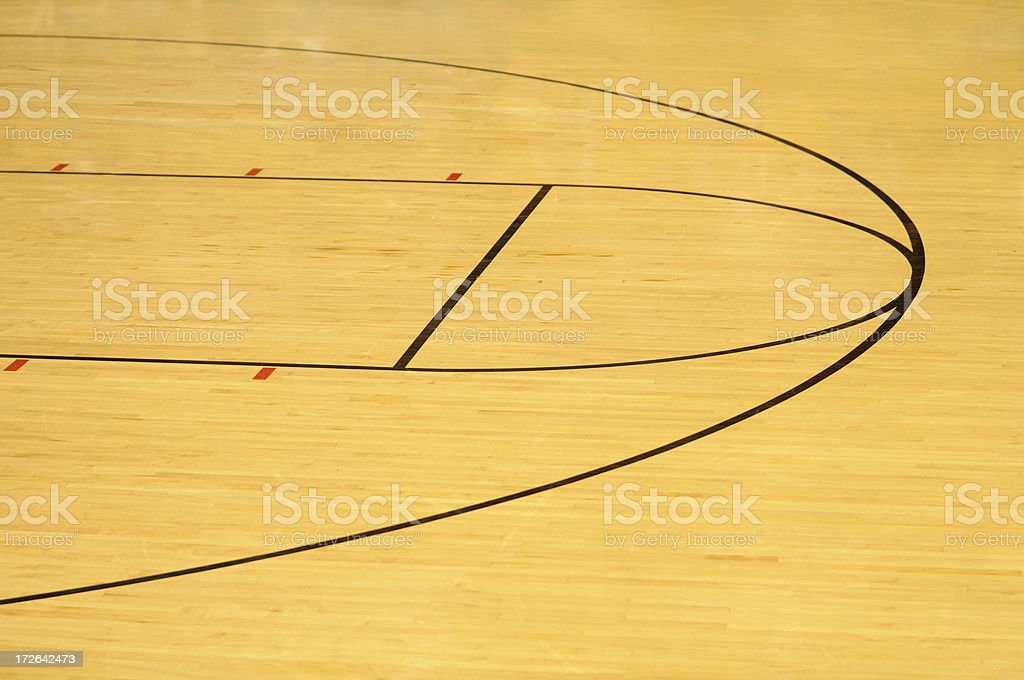 Hardwood basketball floor with foul line and three point shooting...