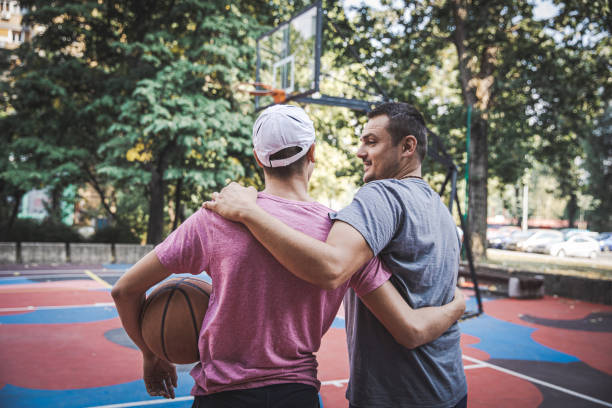 Basketball Fun With Father stock photo