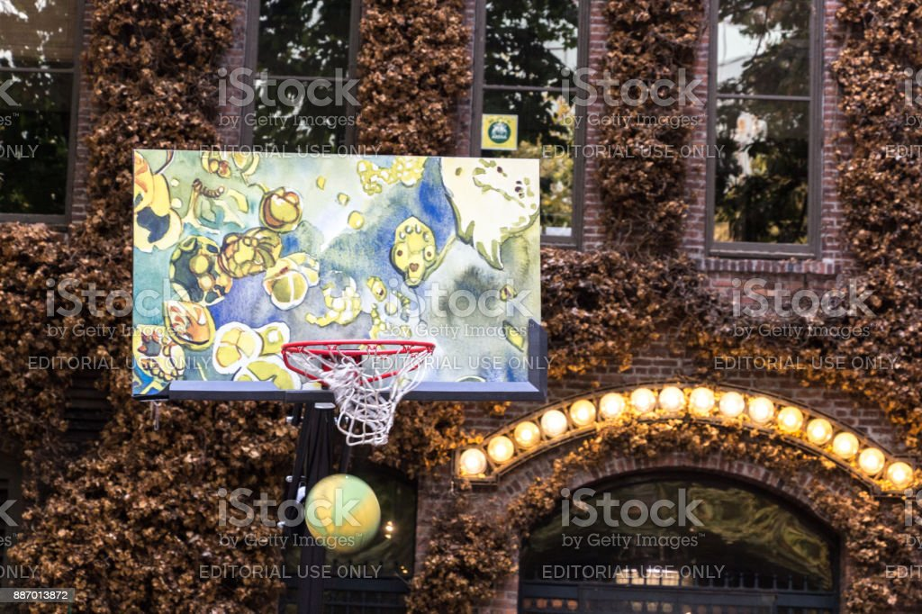 Basketball game at Pioneer Square, Seattle. stock photo
