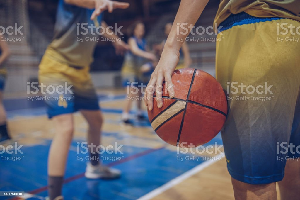 Group of female basketball players playing basketball