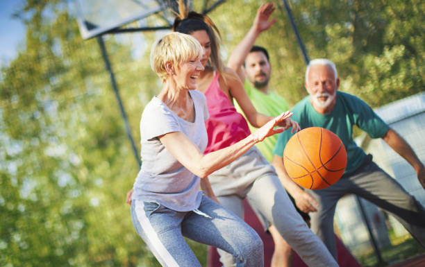 Basketball game with family. stock photo