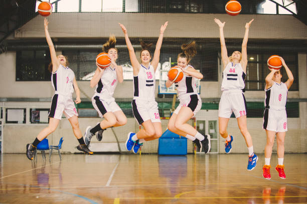 Basketball girls team stock photo