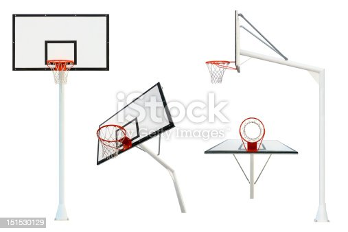 Flaming and clean basketball goal isolated on white background from different views points