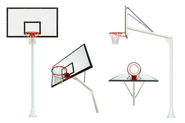 Basketball goal isolated from different views Flaming and clean basketball goal isolated on white background from different views points basket stock pictures, royalty-free photos & images