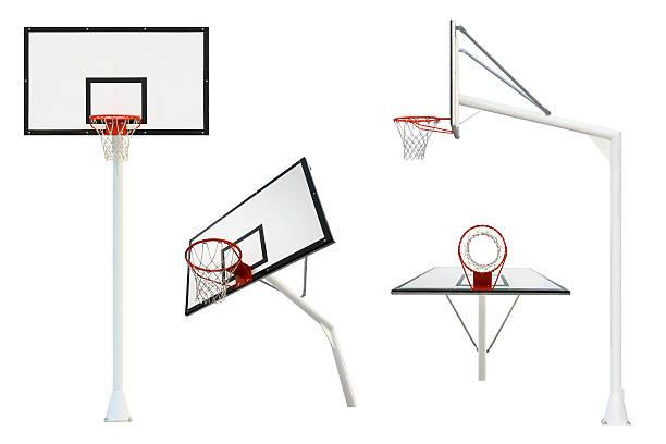 basketball goal isolated from different views - basketbalbord stockfoto's en -beelden