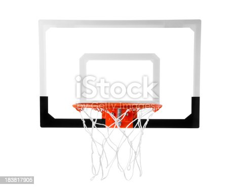 Basketball goal on white.  Please see my portfolio for other basketball related images.