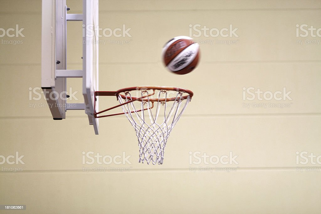 Basketball going through the hoop.