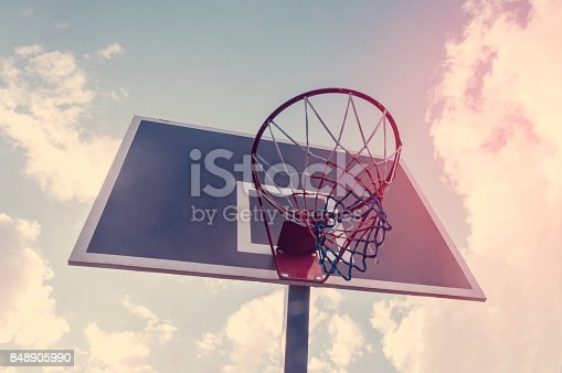 istock Basketball hoop and blue sky background, basketball basket 848905990