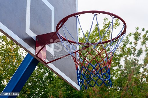istock Basketball hoop and blue sky background, basketball basket 848906046