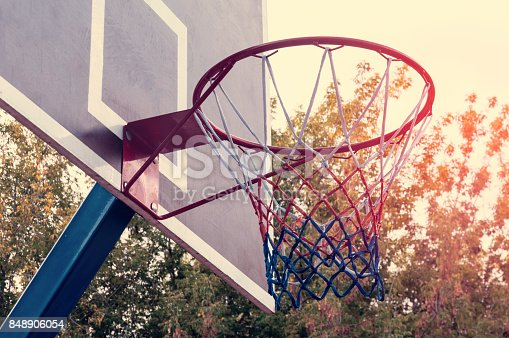 istock Basketball hoop and blue sky background, basketball basket 848906054