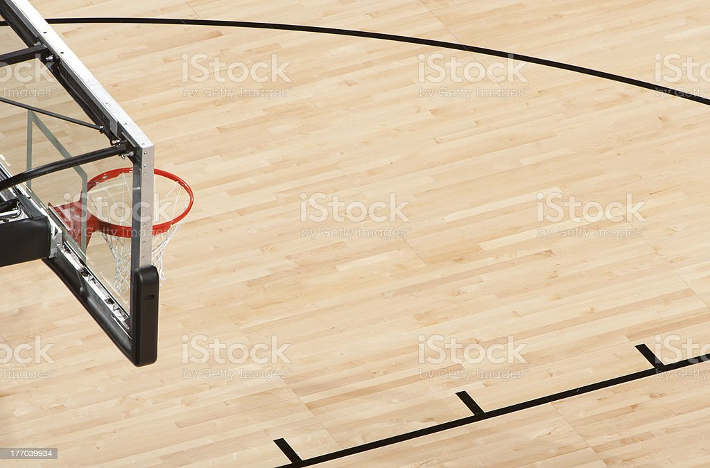 Basketball hoop and court from above stock photo