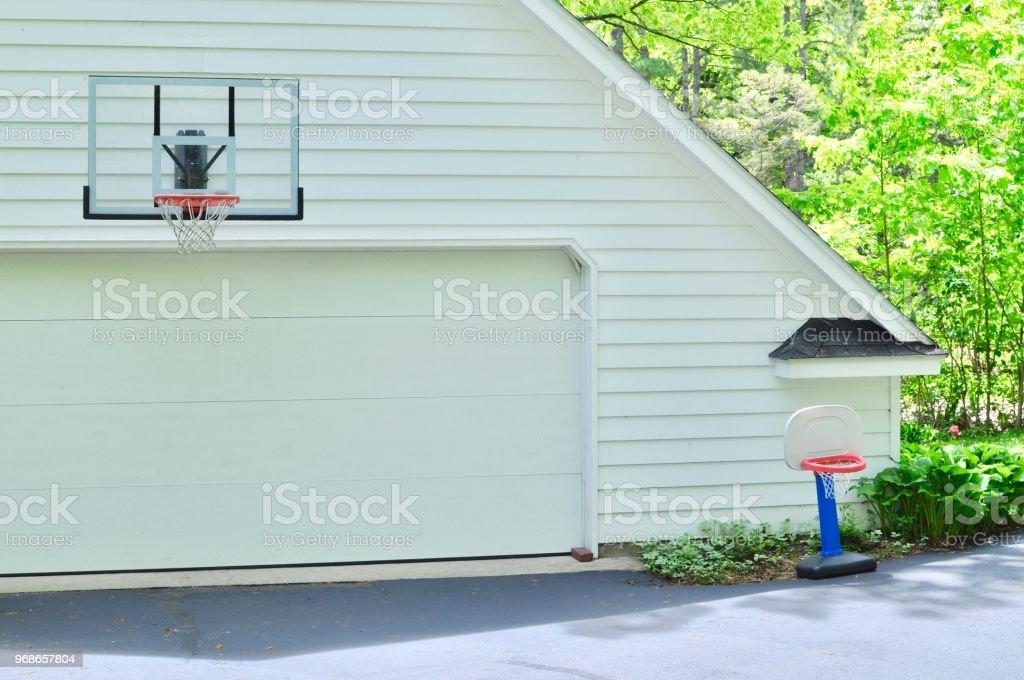Basketball Hoop and Garage stock photo