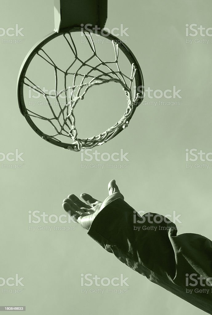 Basketball hoop and man hand royalty-free stock photo