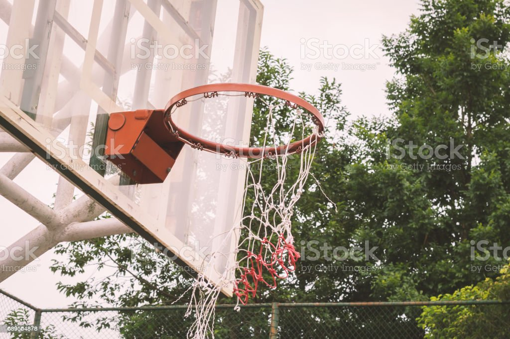 Basketball hoop and net deficit. stock photo