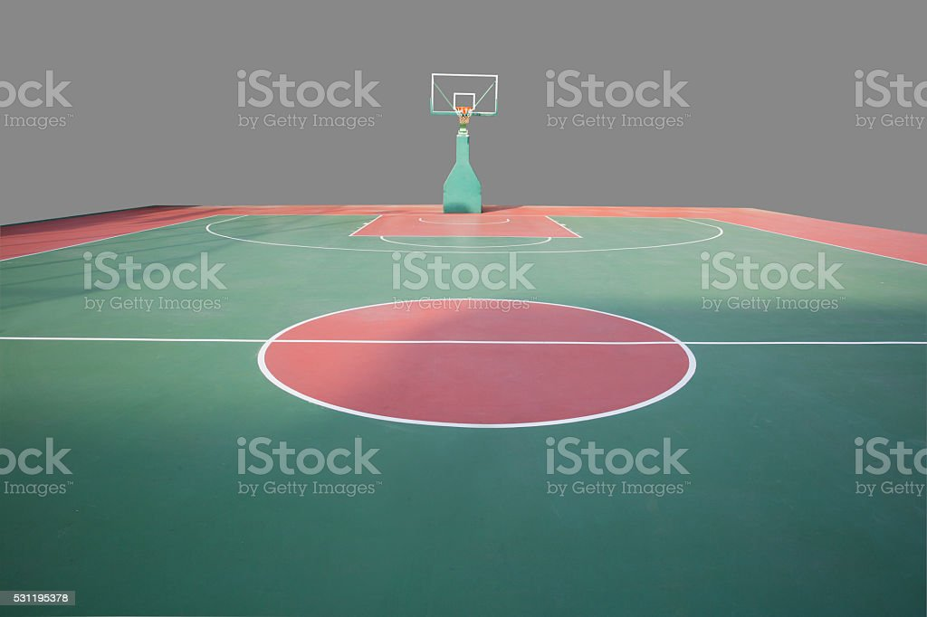 basketball hoop and sport court isolated stock photo