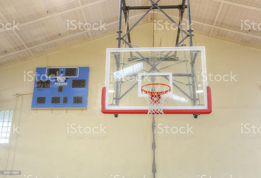 Basketball hoop cage with score table stock photo