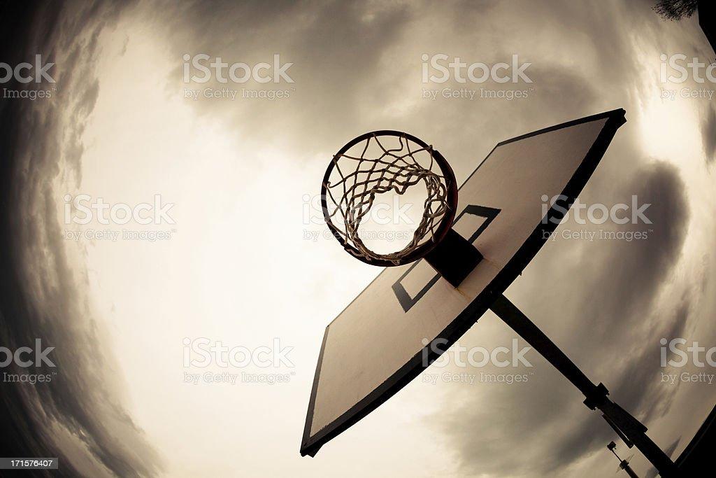 Basketball Hoop, Dramatic Sky royalty-free stock photo