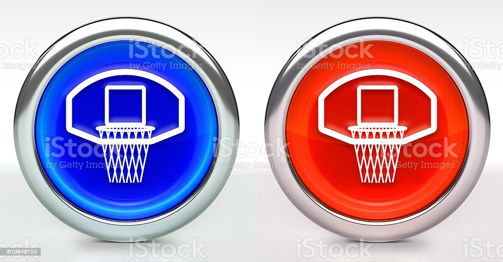 Basketball Hoop Icon on Button with Metallic Rim stock photo
