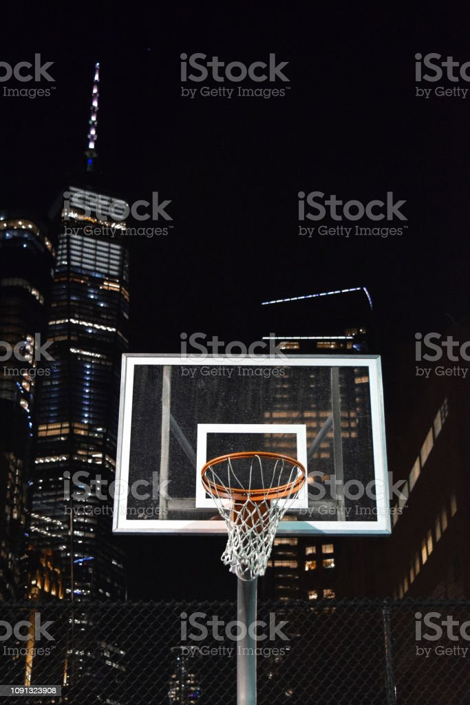 A Basketball Hoop in Front of the World Trade Center, Manhattan, New York stock photo