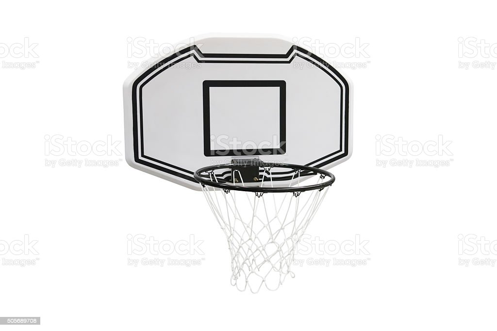 basketball hoop isolated on white background stock photo