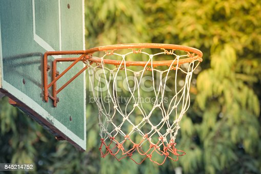 istock Basketball hoop make by wooden and ball in park 845214752