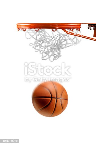 Basketball just about to enter the hoop on white background