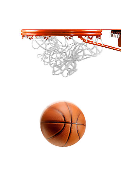 Basketball hoop net and ball on white Basketball just about to enter the hoop on white background basket stock pictures, royalty-free photos & images