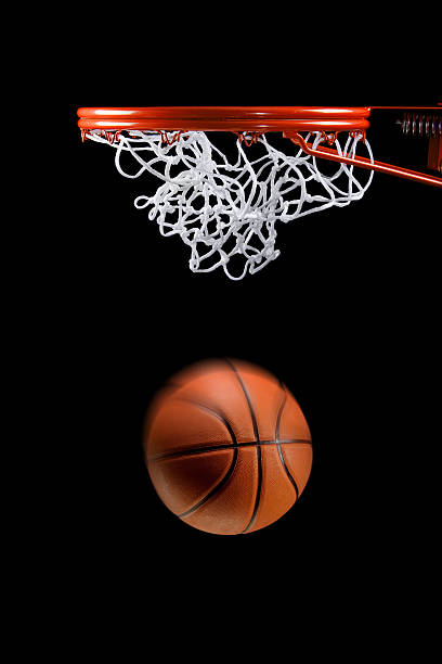 basketball hoop net and ball side view - basketball hoop stock pictures, royalty-free photos & images
