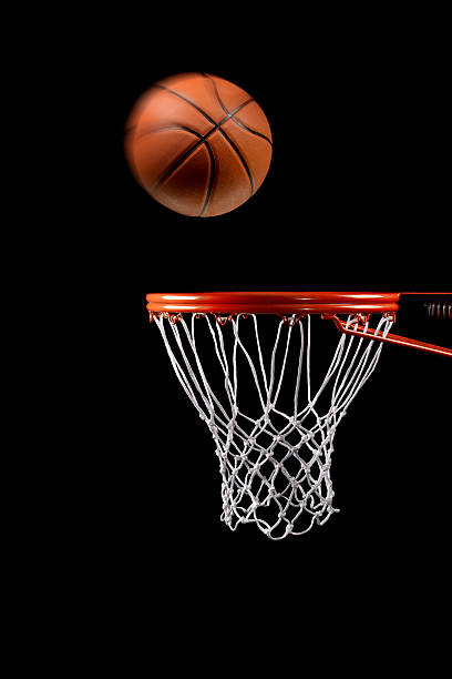 Basketball hoop net and ball side view stock photo