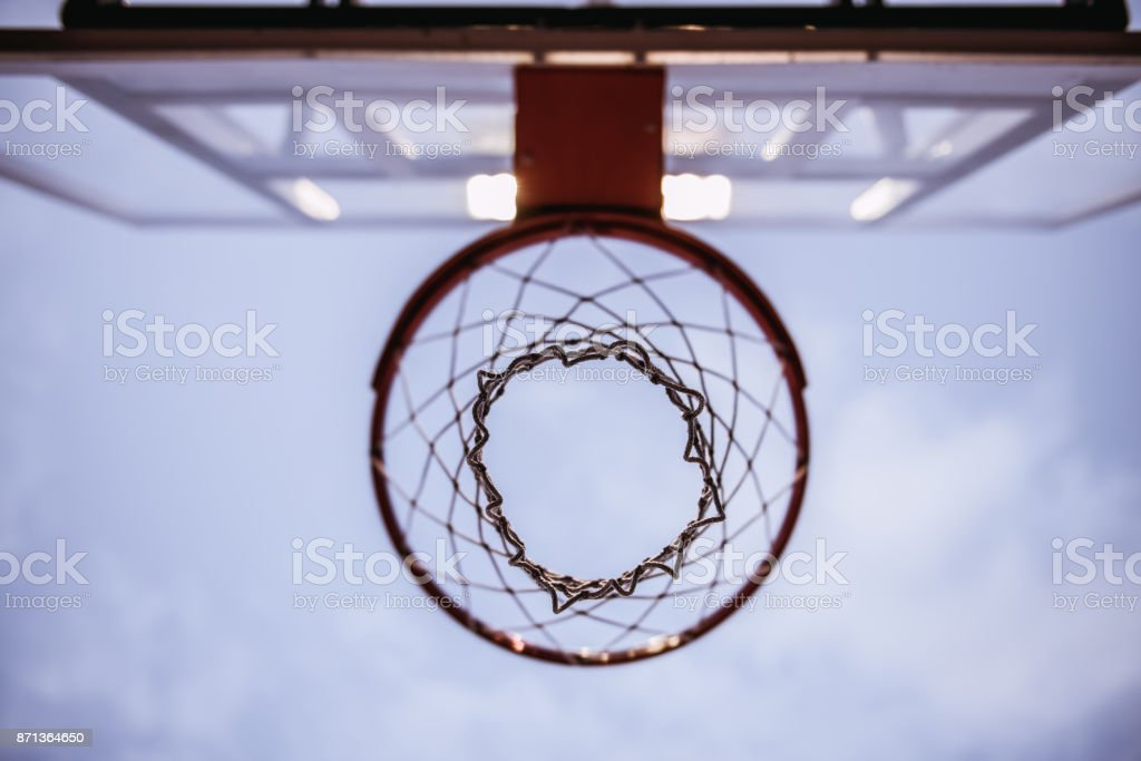 Basketball hoop outside stock photo