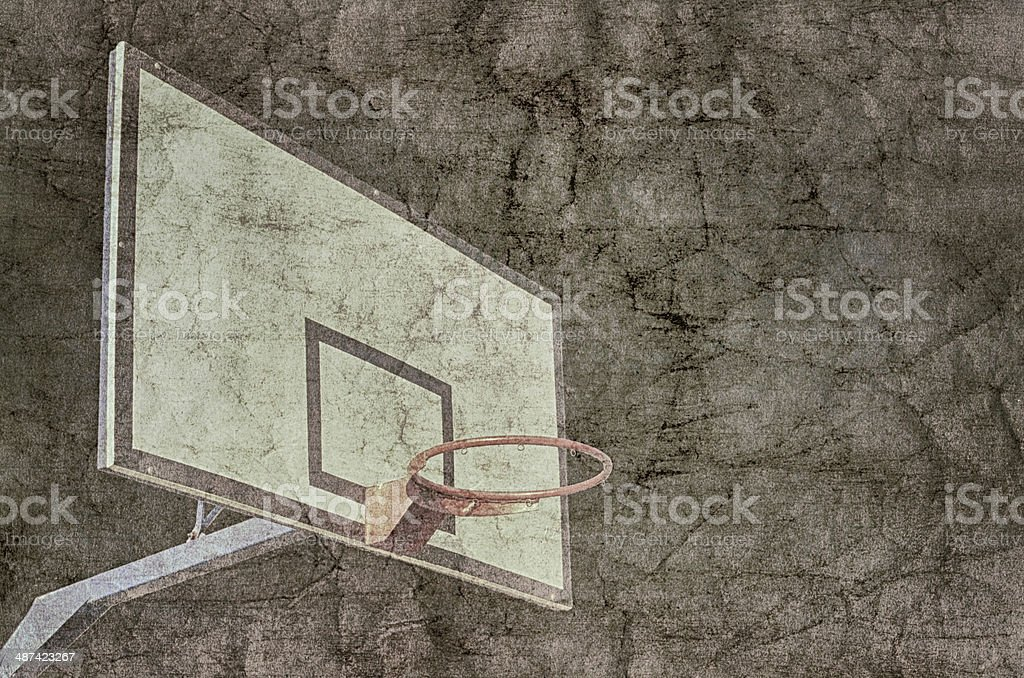 Basketball hoop overlaid with grunge texture.