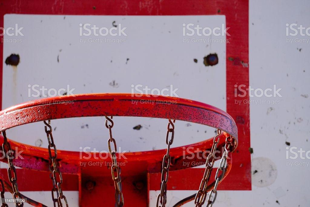 old basketball hoop sport in the court in the street, bilbao, Spain