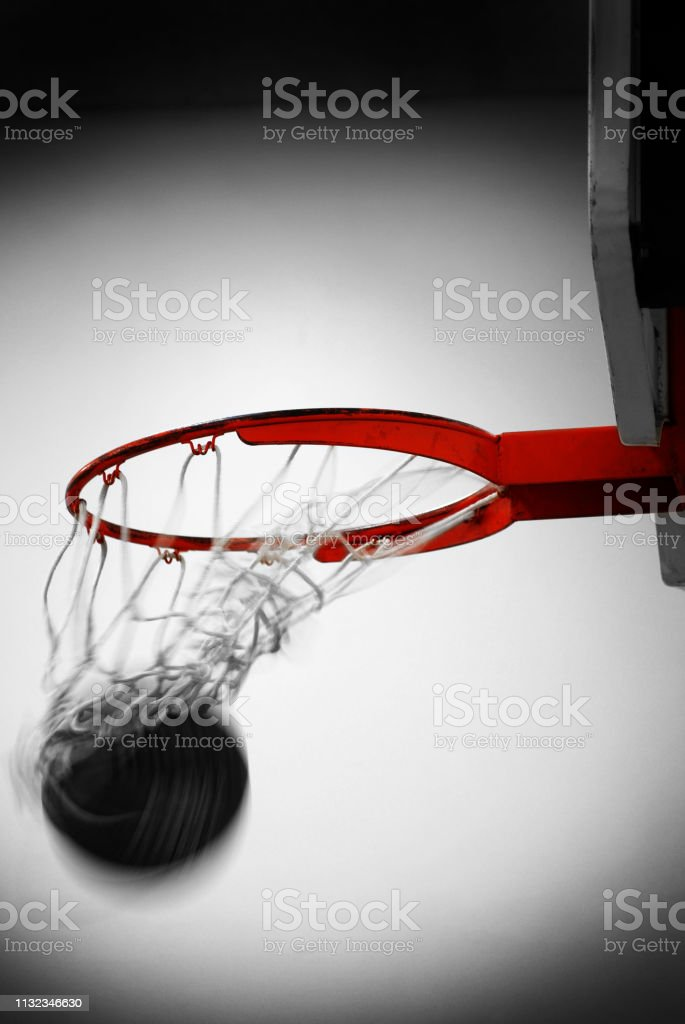 Basketball hoop with ball net scoring points swish sports