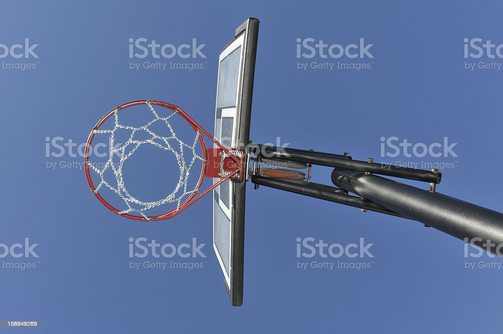 Basketball hoop with chain from below stock photo