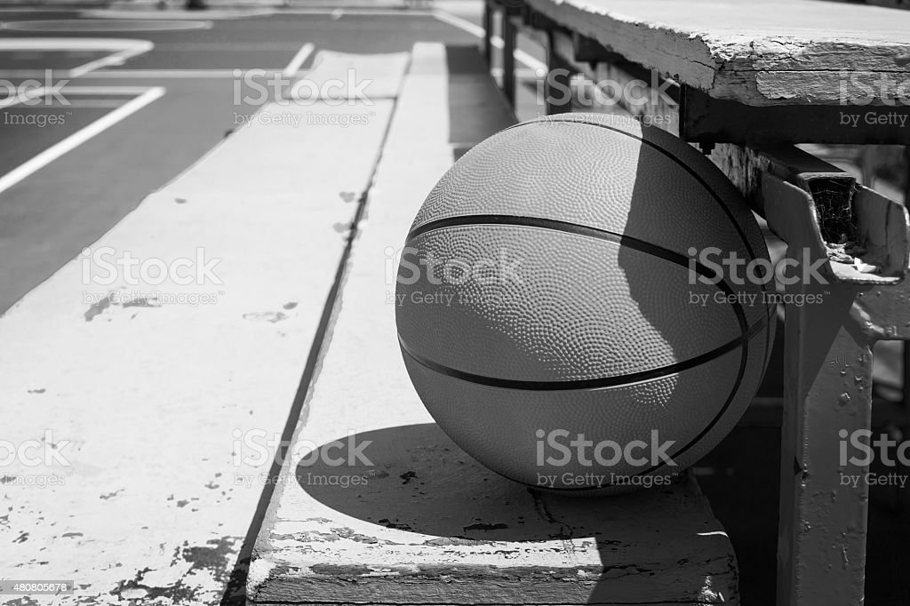 basketball in bleachers stock photo