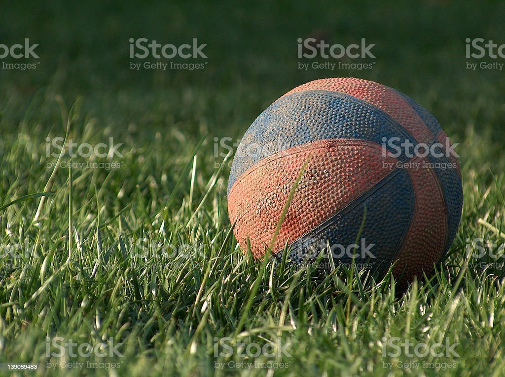 Basketball in the Grass stock photo