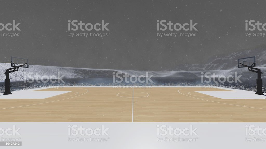 Basketball in the winter. royalty-free stock photo