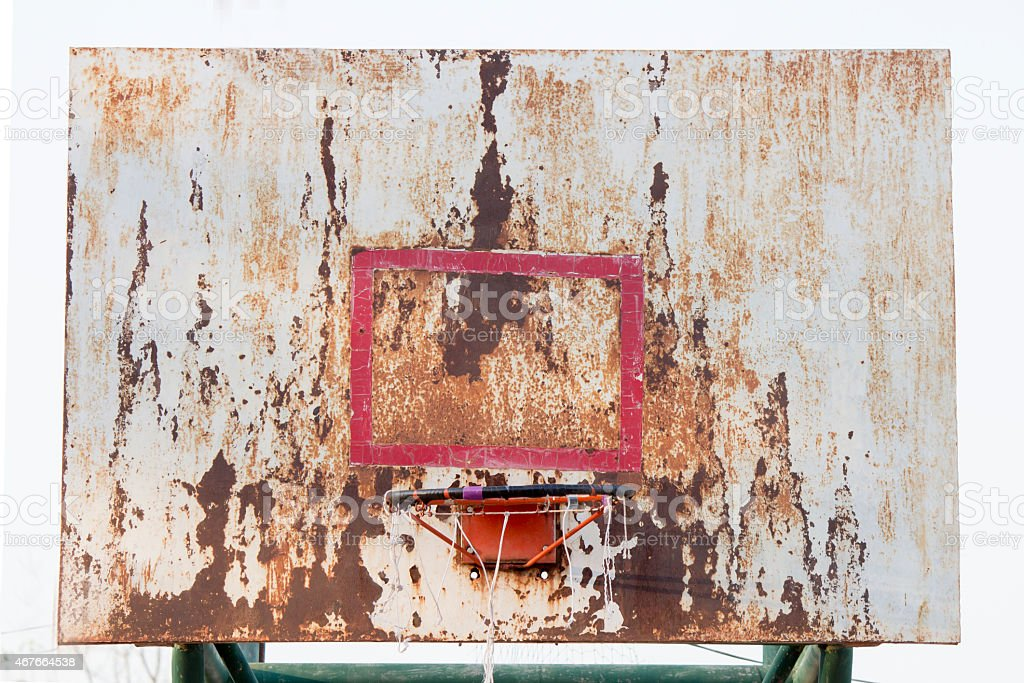 basketball iron board, backboard, dirty, grunge, old stock photo