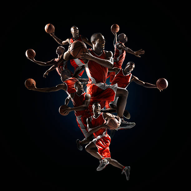 Basketball legendary slam dunks Multiple positions of making a slam dunks by a basketballer jump shot stock pictures, royalty-free photos & images