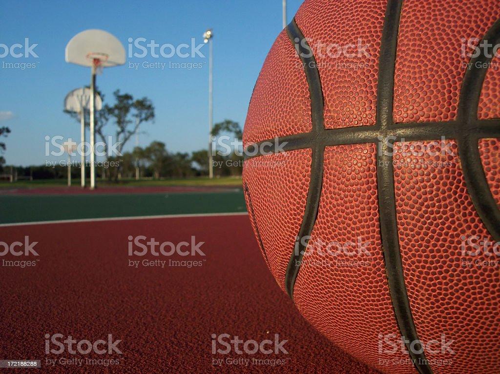 Basketball Macro with Hoop royalty-free stock photo