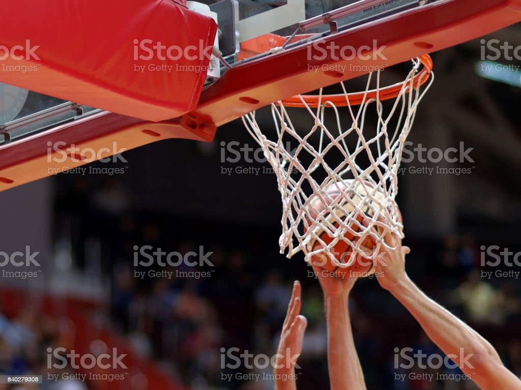 Basketball match stock photo