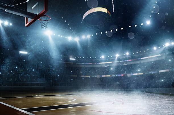 Basketball meets ice hockey stock photo