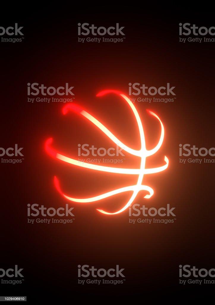 basketball neon 3d illustration stock photo