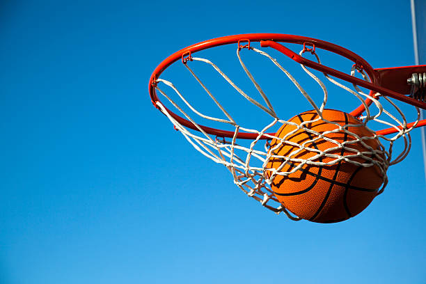 basketball: nothing but the net - basketball hoop stock pictures, royalty-free photos & images