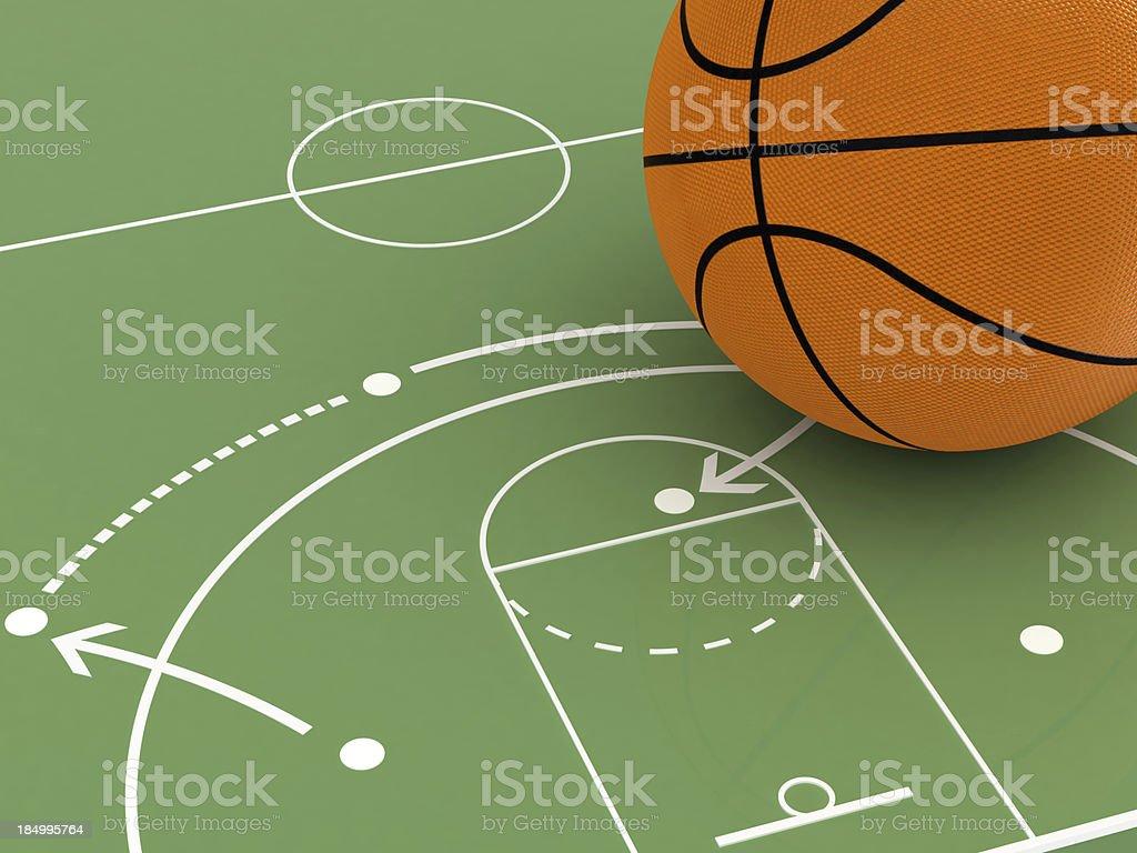 Basketball on a mini green basketball court stock photo