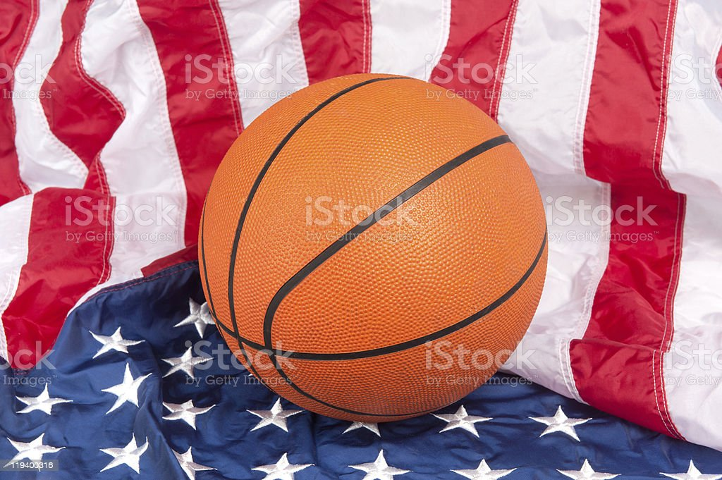 Basketball on American Flag royalty-free stock photo